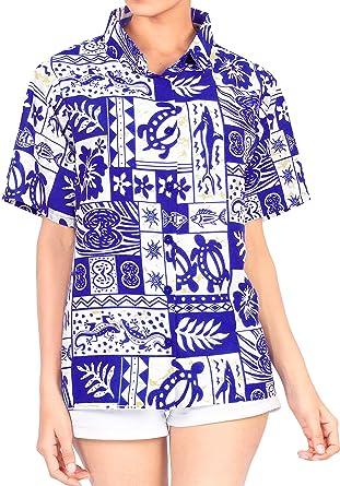 Cuello con Botones de la Blusa de la Camisa Hawaiana de Manga Corta de Las se�Oras Superiores Las Mujeres de Playa Azul: Amazon.es: Ropa y accesorios