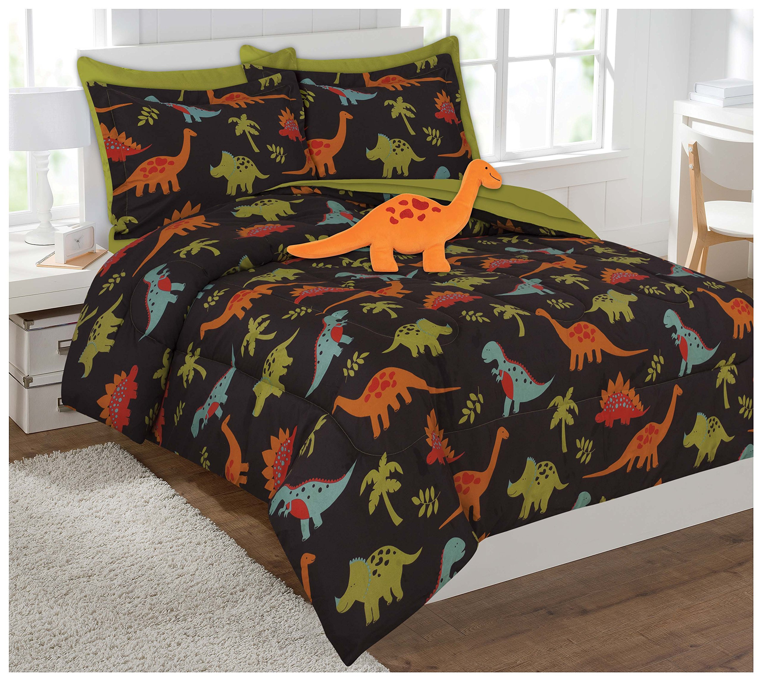 Fancy Collection 6 Pc Kids/teens Dinosaur Brown Orange Green Blue Luxury Comforter Furry Buddy Included # Dino Brown