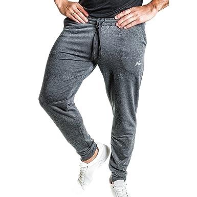 Natural Athlet Fitness Jogginghose Meliert – Herren Männer Trainingshose lang für Fitness Workout – Slim Fit Sporthose