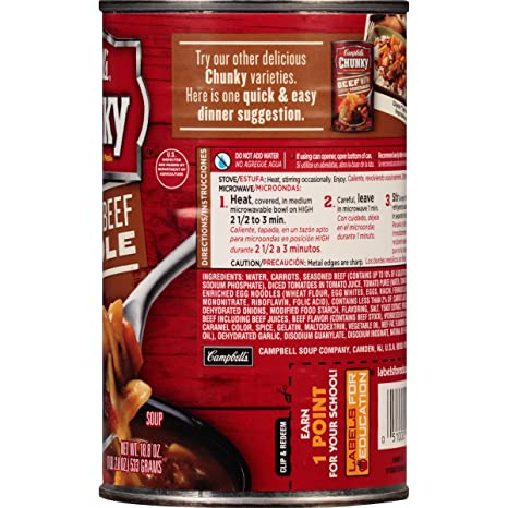 Amazon.com : Campbells Chunky Soup, Hearty Beef Noodle ...