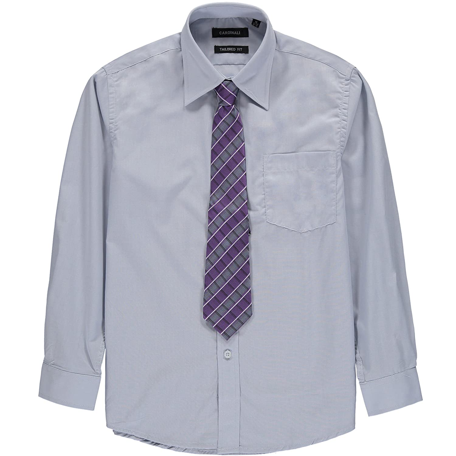 Cardinali Boys Size 8-20 Tailored Fit Dress Shirt with Assorted Tie B115