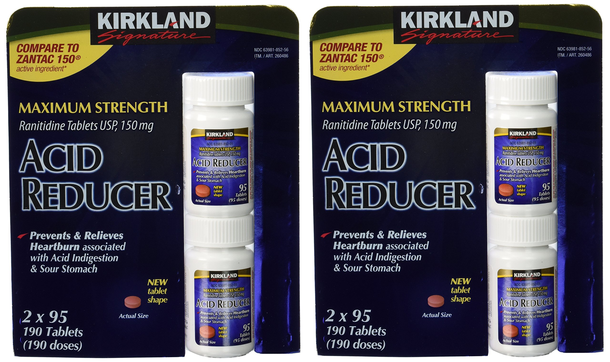 Kirkland Signature Maximum Strength Acid reducer Ranitidine tablets USP 150MG 95 Tablets 4-Count 380 Total tablets. by Kirkland Signature