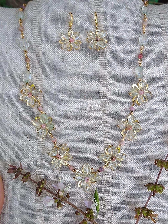 Aguamarina y Rodocrosita. Conjunto de collar y aretes, Hecho a mano, Piedras semipreciosas. Hecho en México