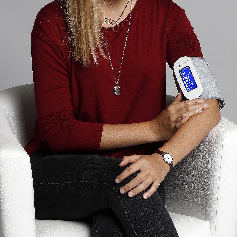 MedX5 (Upgrade 2019) Tensiómetro para brazo inalámbrica con Bluetooth con app para iOS & Android, tensiómetro inalámbrico con detección del ritmo cardiaco, ...