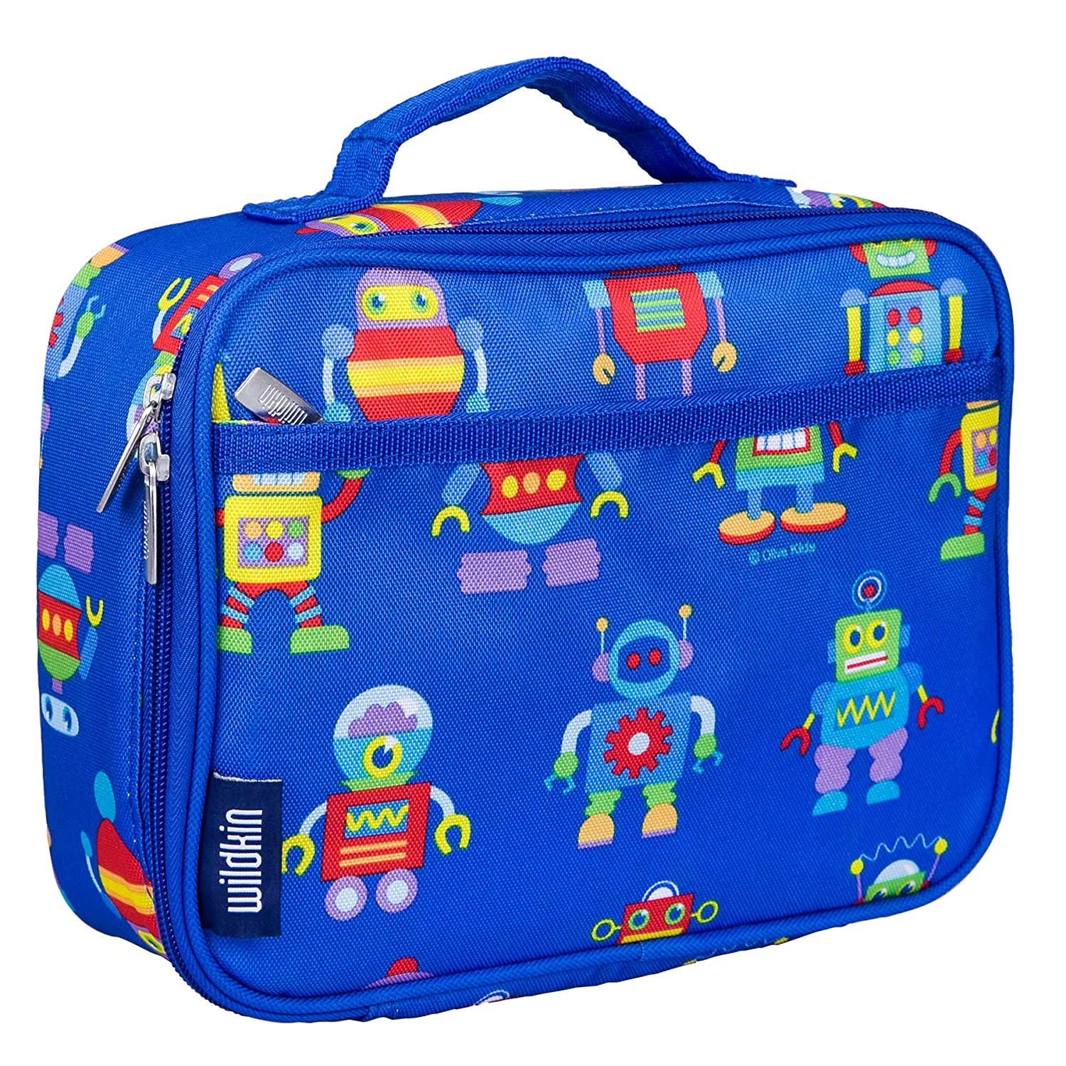 Wildkin Lunch Box, Insulated, Moisture Resistant, and Easy to Clean with Helpful Extras for Quick and Simple Organization, Perfect for Kids or On-The-Go Parents – Olive Kids Design – Robots