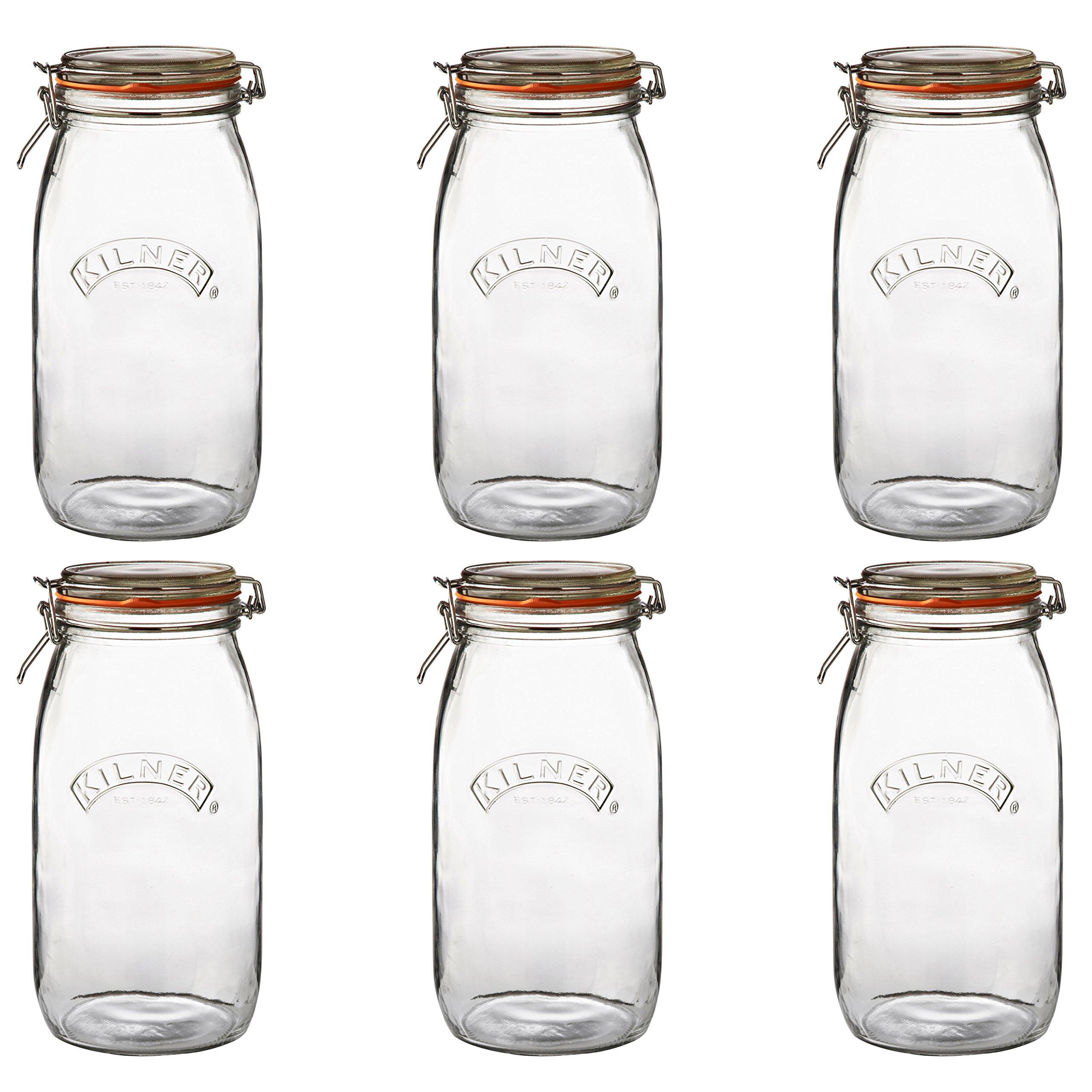 Kilner Round Clip Top Jar, 102-Fl Oz, Case of 6