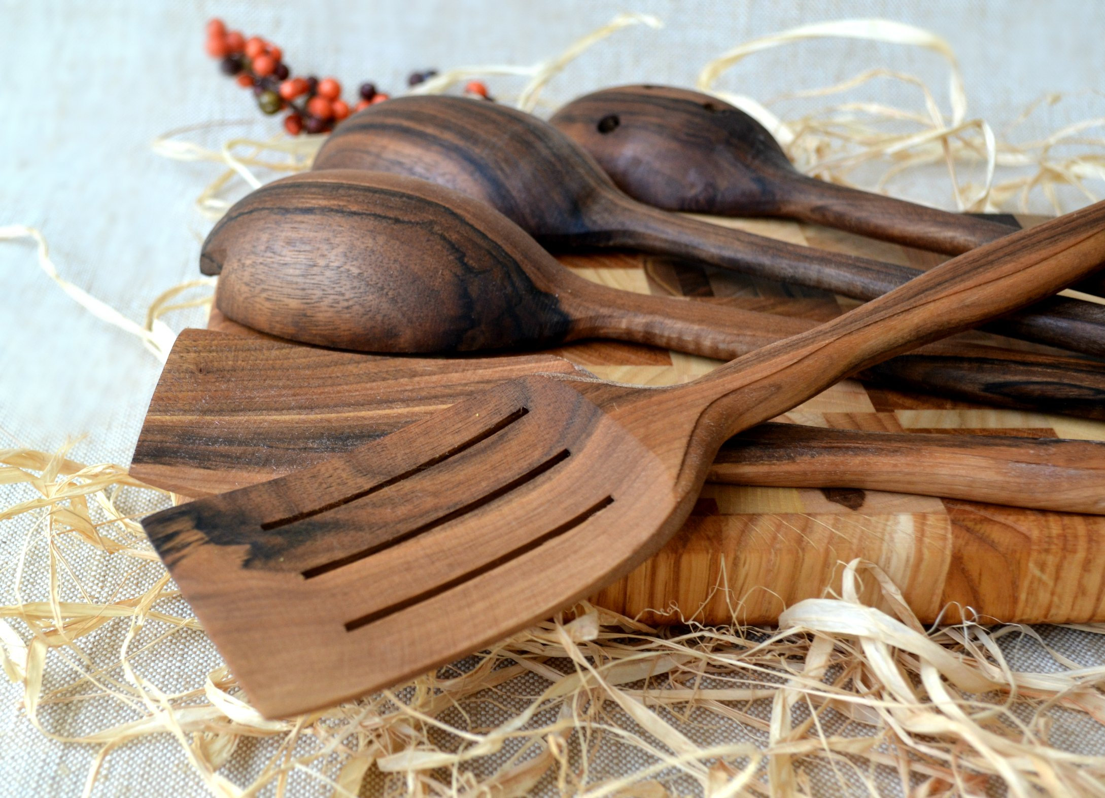 MyFancyCraft Handmade Utensil Set. Wooden Cute Kitchen Utensils Set 14''/35 cm. Walnut Wood Kitchen Supplies & Utensils Big Set of 5 by MyFancyCraft (Image #9)