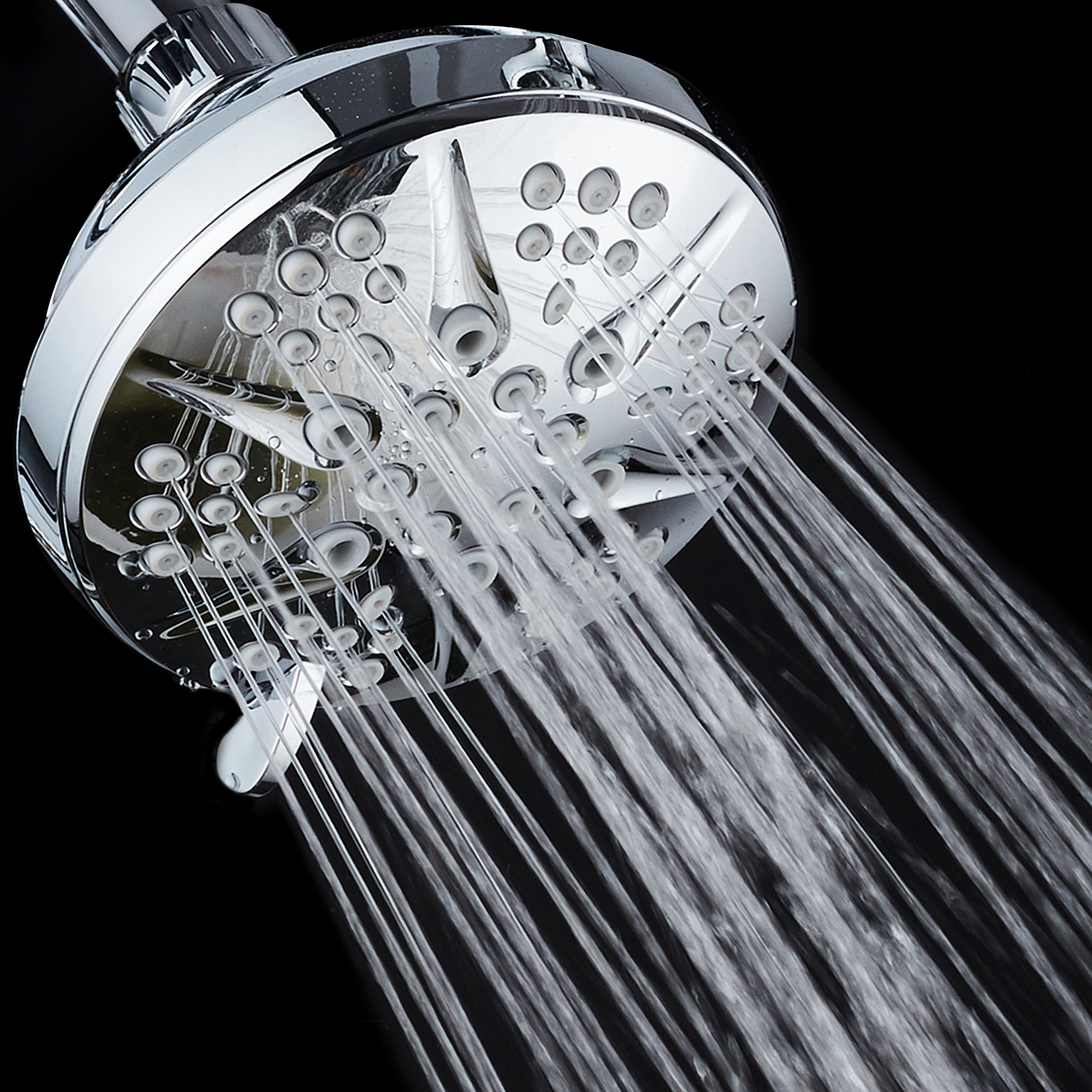 NOTILUS Giant High-Pressure 6-setting 4.3'' Face Modern Luxury Spa Shower Head - Solid Brass Metal Connection Nut, Angle-Adjustable Ball Joint, Anti-Clog Jets, All-Chrome Finish, by HotelSpa (Image #5)