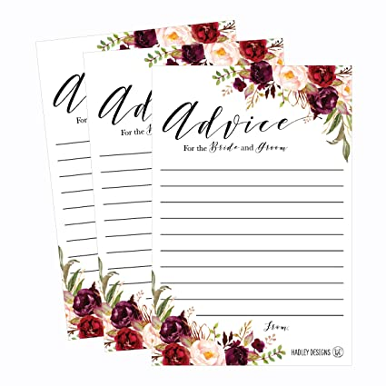 50 4x6 floral wedding advice well wishes for the bride and groom cards reception