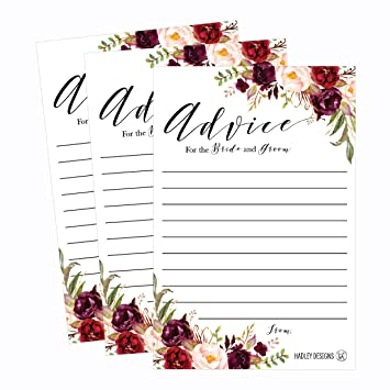 50 4x6 floral wedding advice well wishes for the bride and groom