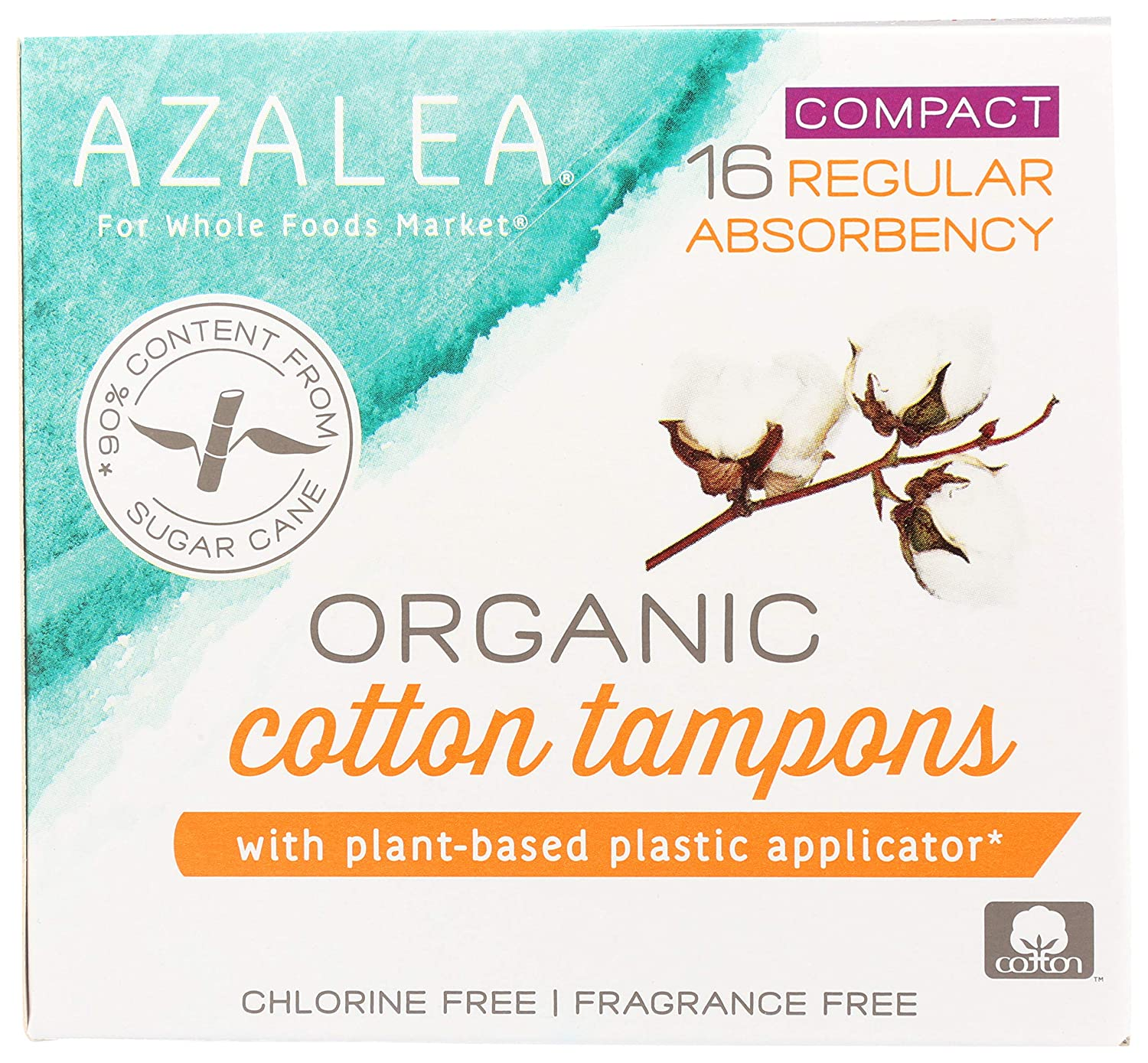 Azalea, Organic Cotton Tampons With Plant-Based Plastic Applicator