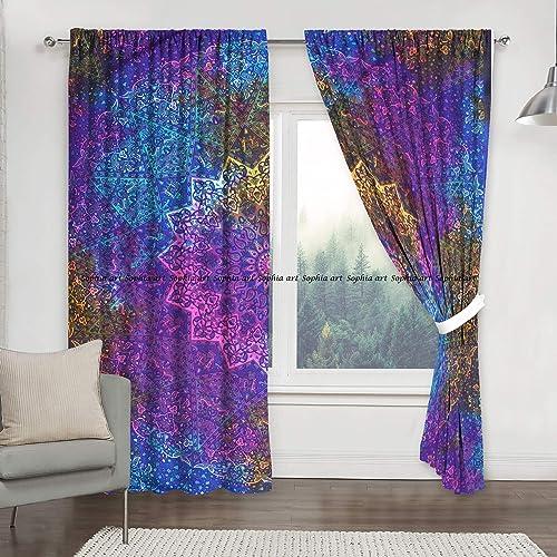 Sophia-Art Indian Multi Star Bohemian Hippie Mandala Tapestry Curtains Boho Mandala Window Curtains Panels Pair 82 Length Set of 2 Multi Multi-Green