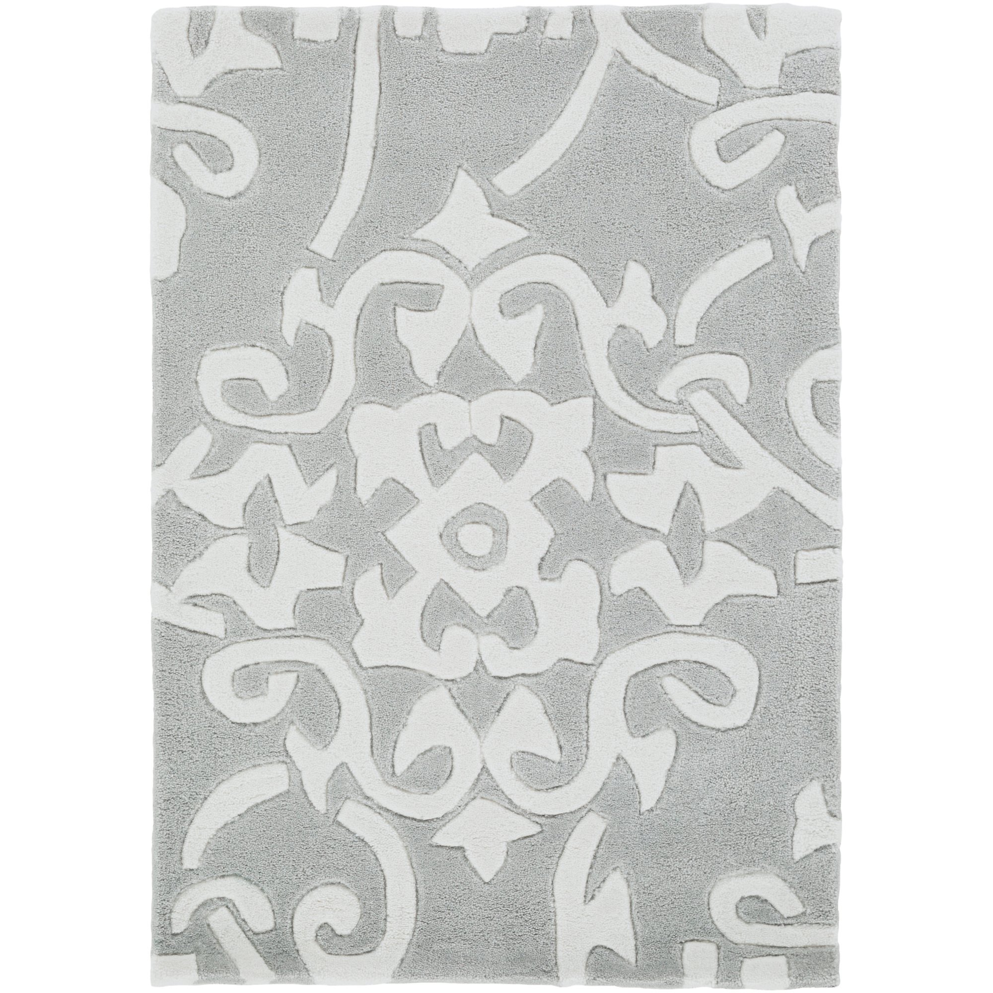 Surya Cosmopolitan COS-8828 Classic Hand Tufted 100% Polyester Robin's Egg Blue 2'6'' x 8' Paisleys and Damasks Runner by Surya