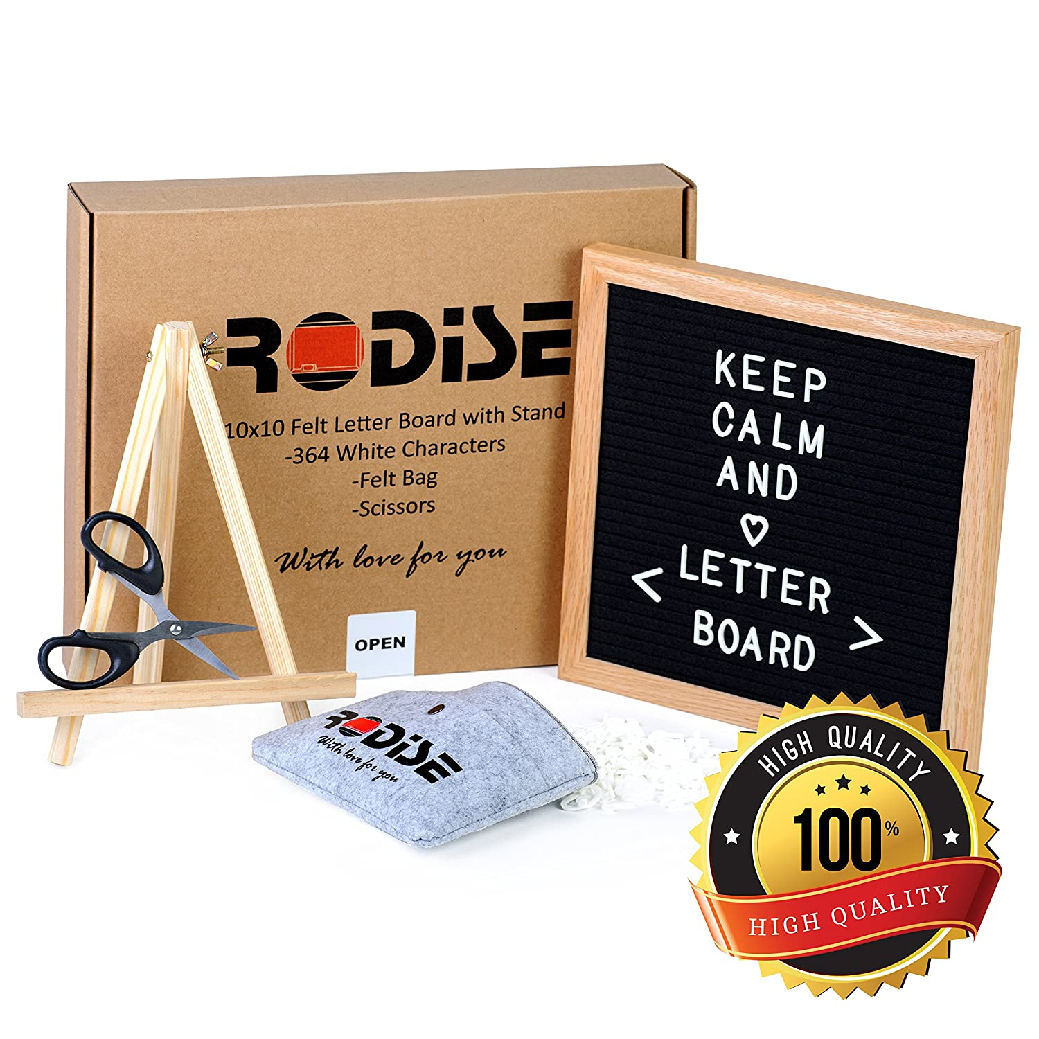 Black Felt Letter Board with Scissors-364 Letters Changeable Message Boards Oak Frame 10x10 inch Perfect Gift Emoji Sign /& Numbers Wood Stand Wall Mount Special Storage Bag