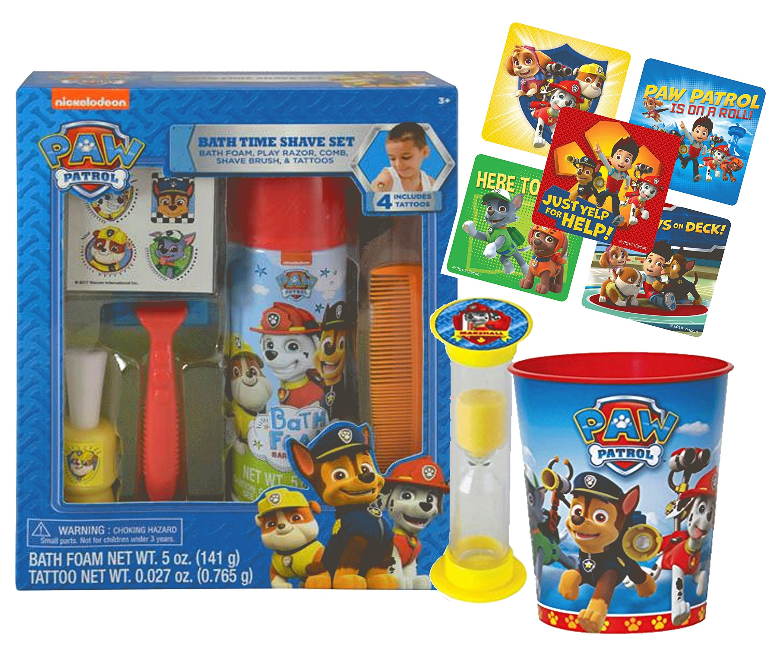 UPD Paw Patrol Groom & Go Kids Bath Time Activity Set! Bath Foam, Play Razor, Shave Brush, Comb, Rinse Cup & Time to Get Out Bath Timer! Plus Bonus Paw Patrol Stickers & Tattoos!