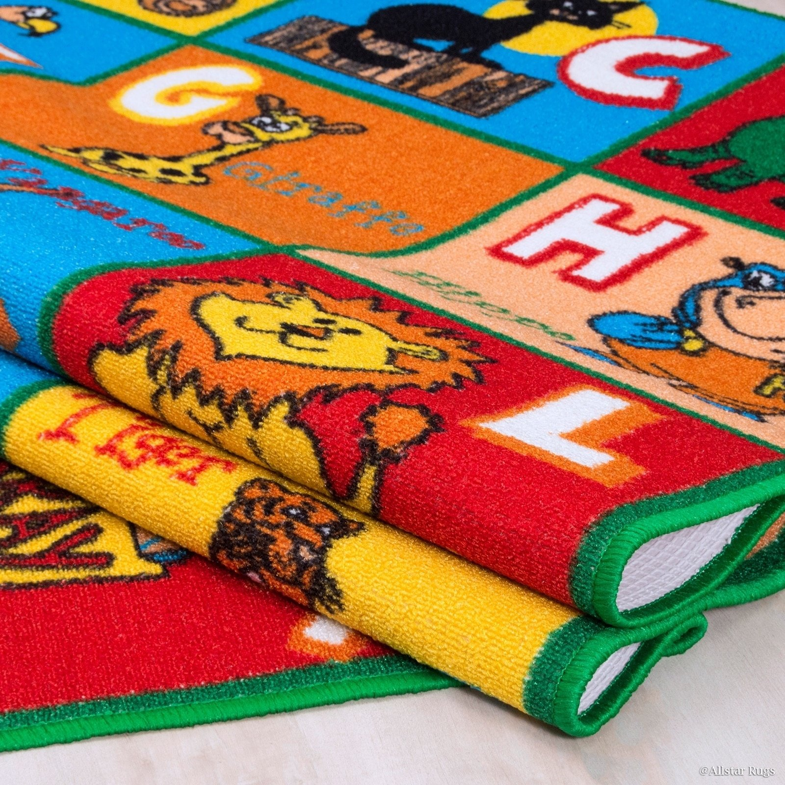 JA 4'11'' x6'11 ft Multi Colored Red Blue Yellow Orange Green White Abstract Patterned Kids Area Rug, Indoor Artistic Alphabet Letters Girl Boy Nursery Room Mat Rectangle Carpet, Animal Nylon Flooring by JA (Image #3)