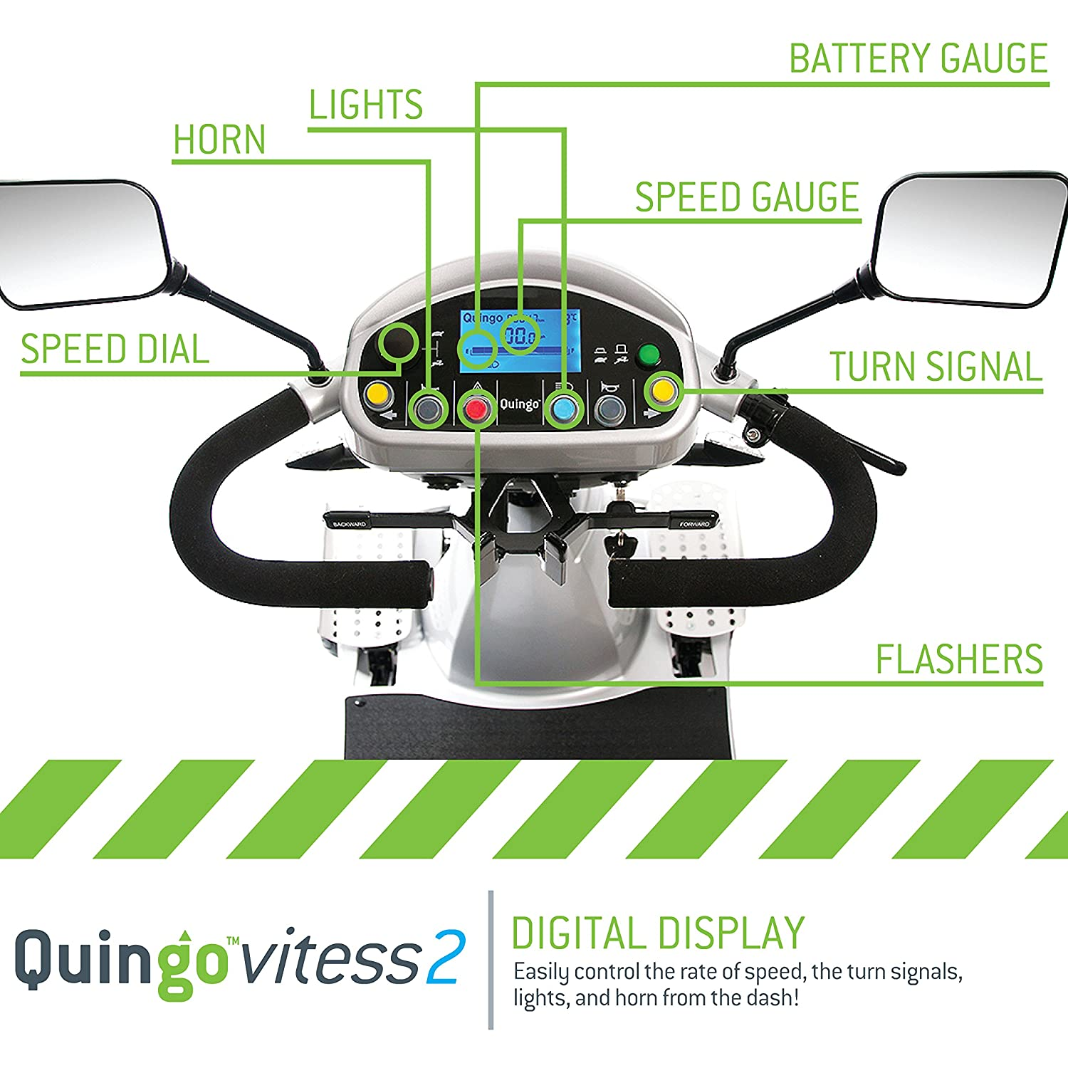 Amazon.com: Quingo Vitess 2 Mobility Scooter with 5 Wheel Anti-Tip Stability System; Most Luxurious, Advanced and Powerful Model Perfect for Any Terrain for ...