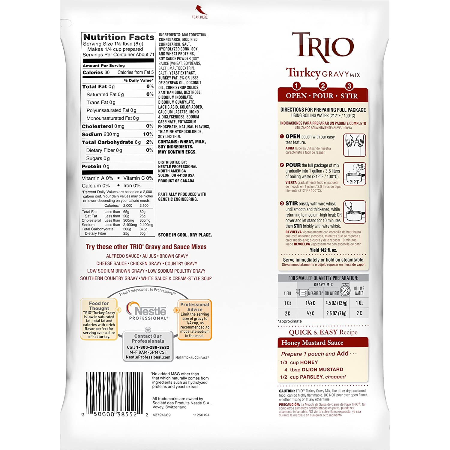 Amazon.com : Trio Turkey Gravy Mix, Holiday Roast, Dehydrated, Just Add Water, 20 oz Bag : Grocery & Gourmet Food