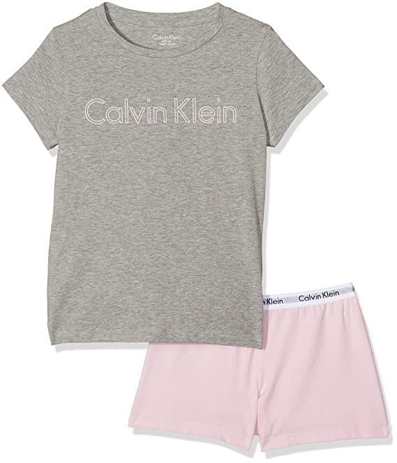 Calvin Klein Modern Cotton Knit PJ Set (s/s+Short), Conjunto de Pijama para Niñas, Multicolor (Heather Grey W/Unique 004), 140 (Talla del Fabricante: 10-1): ...