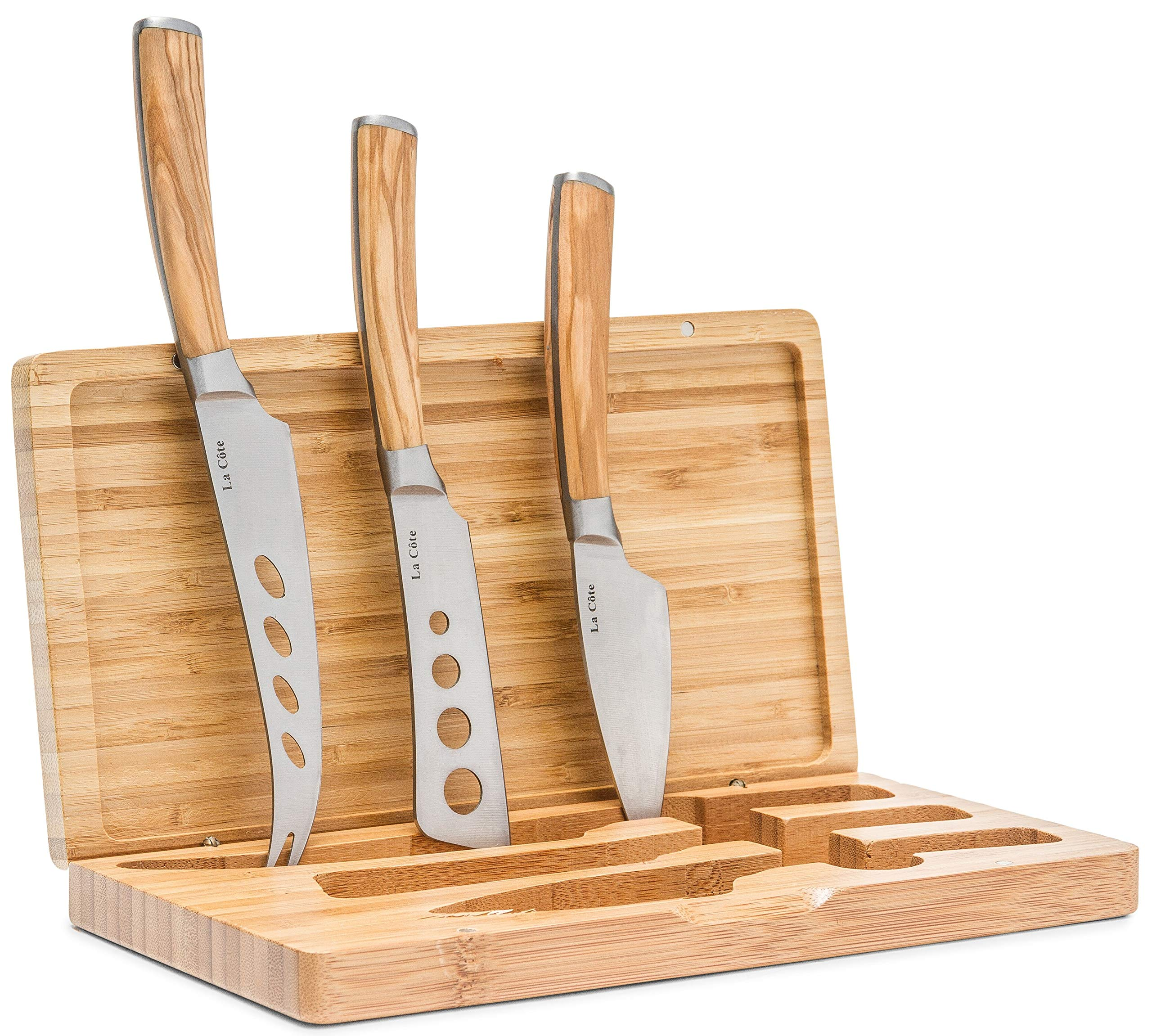 La Cote Olive Wood Cheese Knives Set Servers Accessories (3 Piece Cheese Knife Set In Bamboo box)