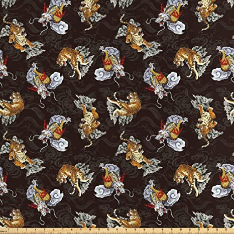 Lunarable Dragon Fabric By The Yard Ferocious Fantasy Dragon And Tiger Between Smokes And Black Background Decorative Satin Fabric For Home Textiles And Crafts 1 Yard Pale Coffee Red Black Amazon In Amazon In