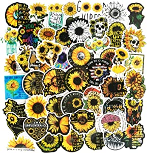 Sunflower Stickers, Laptop Stickers Vinyl Waterproof Stickers for Hydroflasks Water Bottle Stickers Computer Stickers for Teens Skateboard Guitar Phone Car Decals (50pcs)