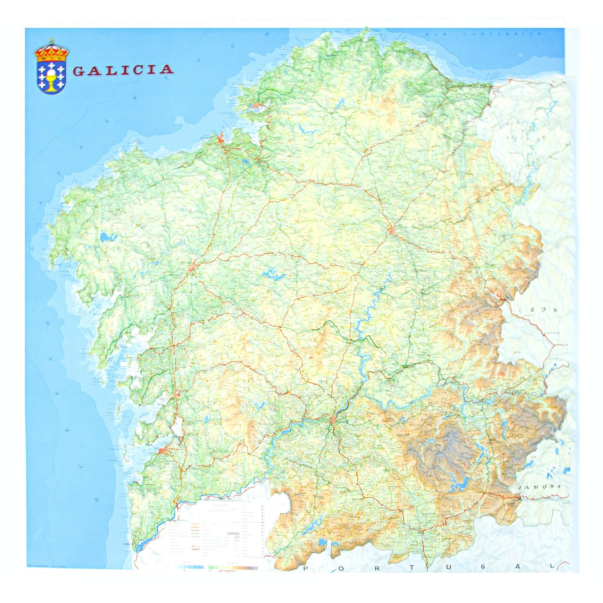 Cabo Ortegal Mapa Fisico.Mapa En Relieve De Galicia Escala 1 250 000 Amazon Es