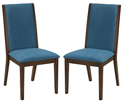 Amazoncom Cortesi Home Dining Chairs Walnut Color With Fabric