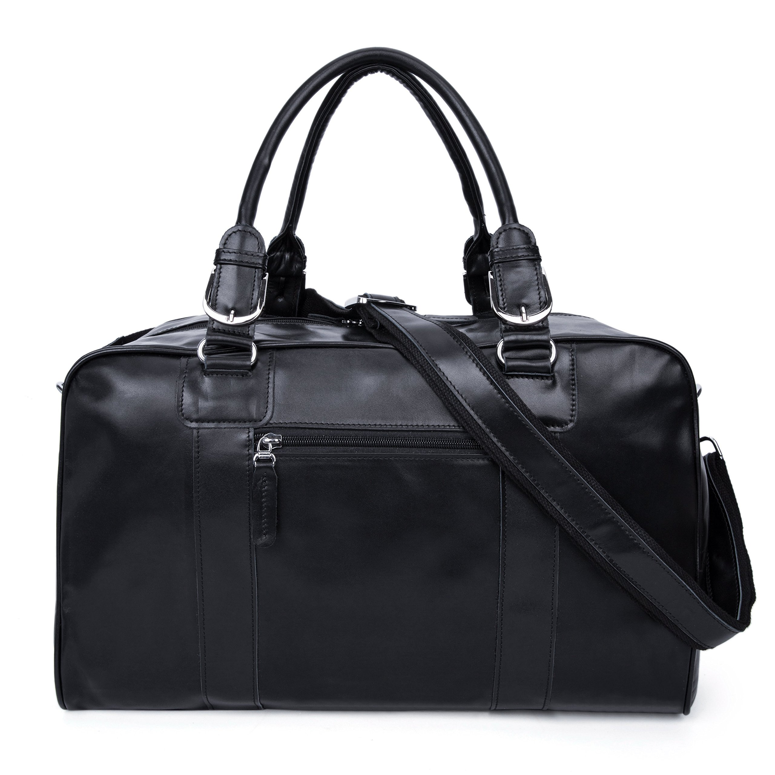 Huntvp Mens Genuine Leather Travel Duffel Bag Black Carry On Luggage Totes Gym Bags