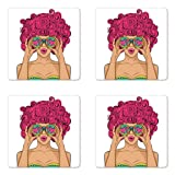 Lunarable Curly Hair Coaster Set of 4, Wow Face