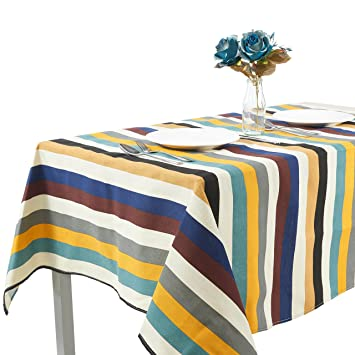 Merveilleux Modern Multi Color Striped Tablecloths/Table Cloth,Linen Cotton Dining Room  Tabletop Table Cover