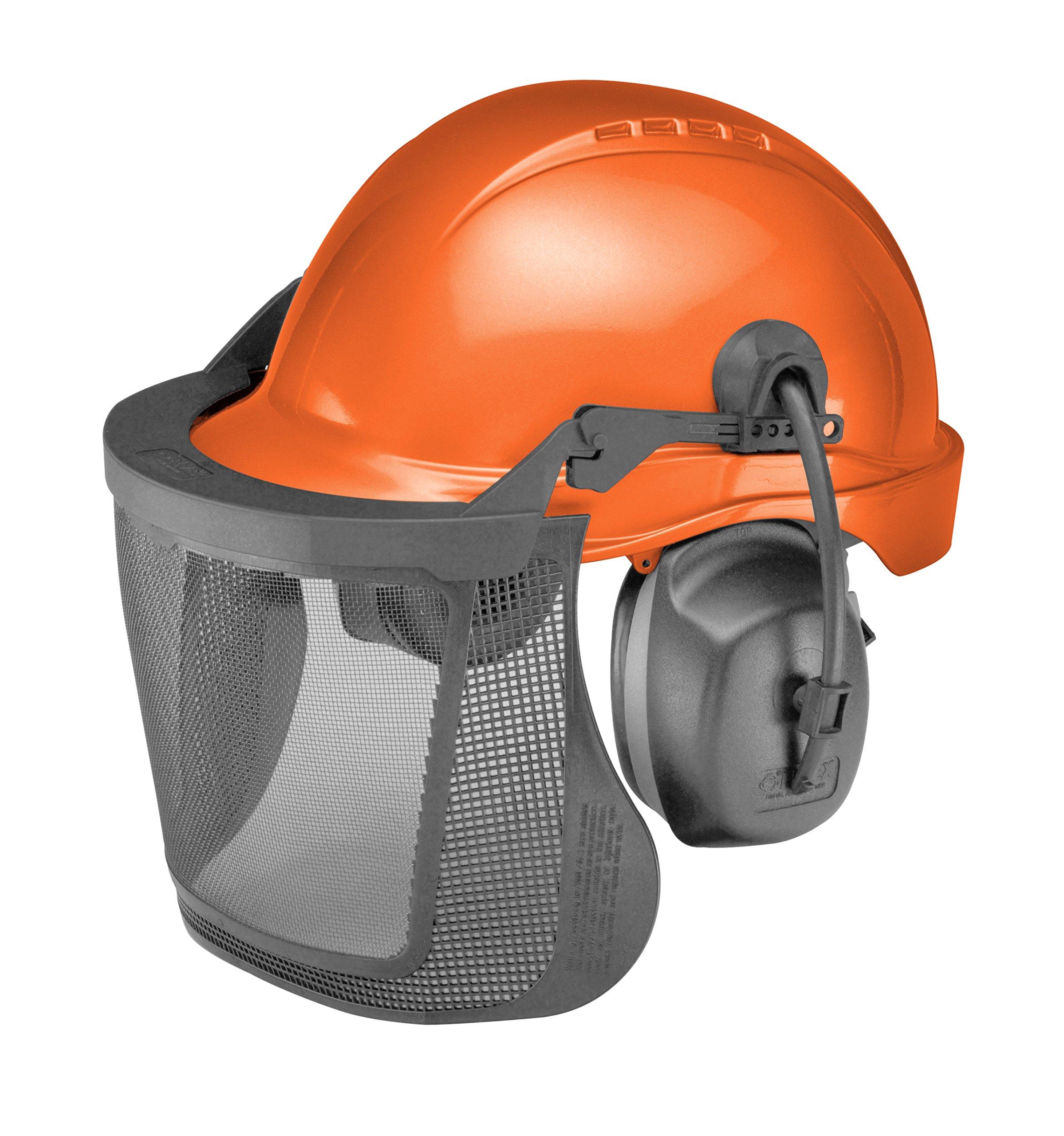 Elvex WELCU60RV ProGuard 6-pt Ratchet Steel Mesh NRR 27, One Size, Orange Cap