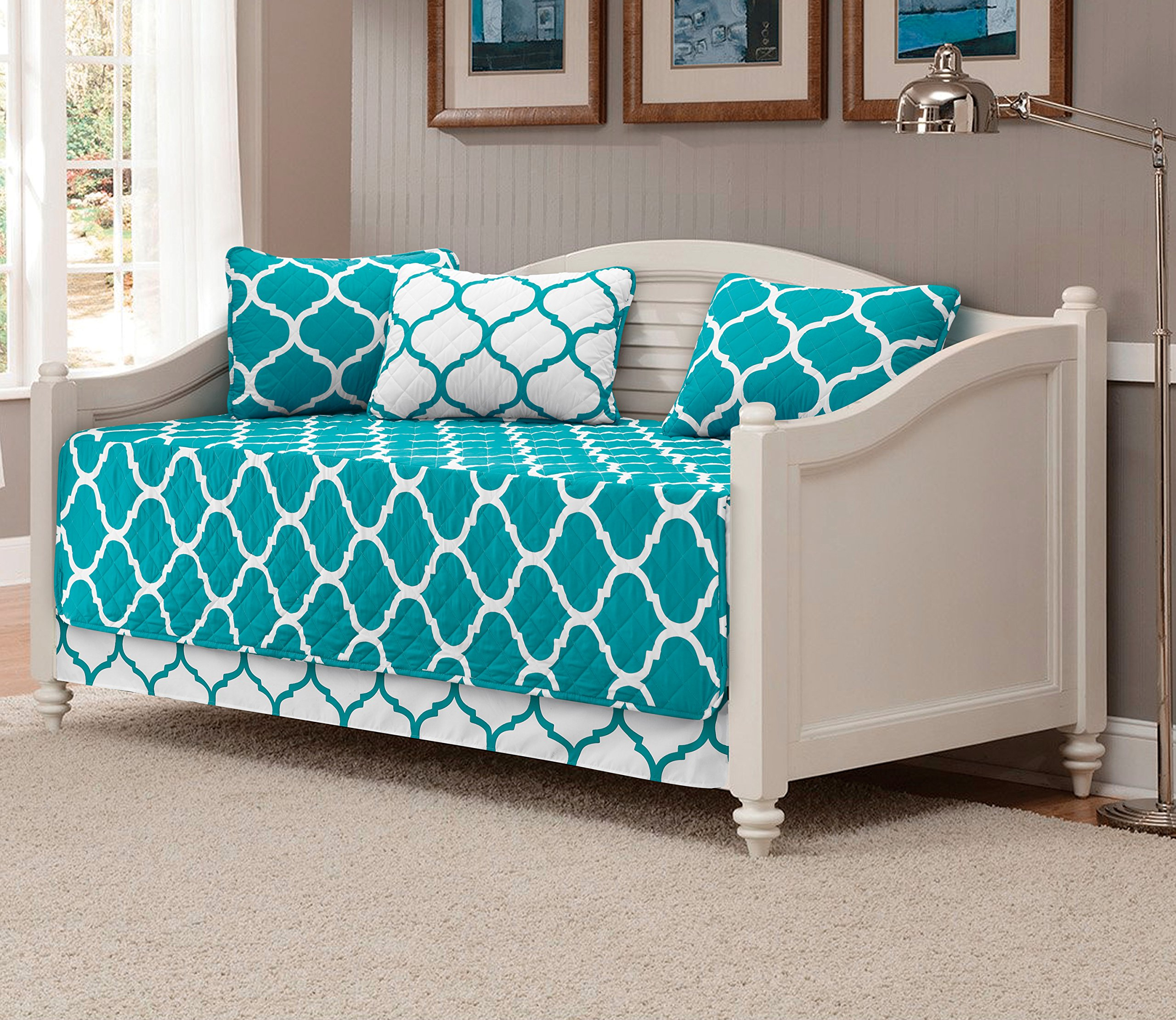 Mk Collection 5pc Modern Elegant Reversible Bedspread DayBed Cover Set Geometric Contemporary Pattern Turquoise/White Quilted New
