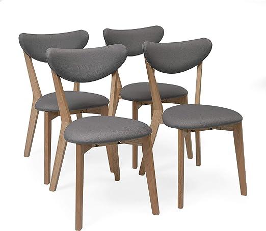 Homely - Pack de 4 sillas de Comedor MELAKA tapizadas en Tela y Patas de Madera de Roble (Gris): Amazon.es: Hogar