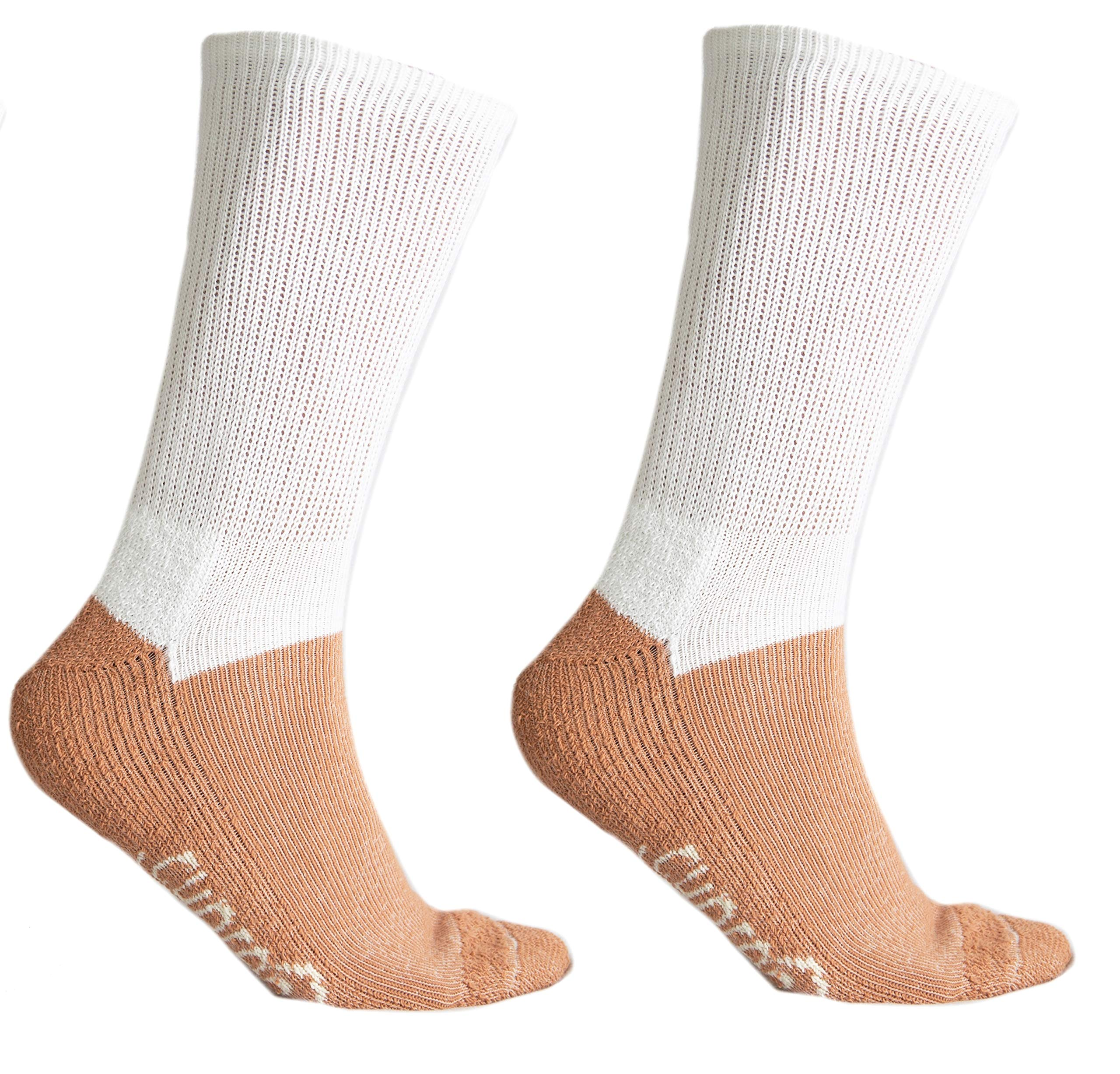 Glucology™ Diabetic Copper Infused Cupron Yarn Crew Socks | Non Binding Loose Fit | 2 Pairs White | Men 9-12 / Women 10-11.5