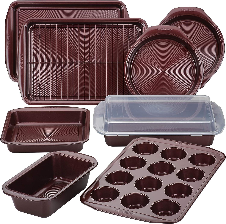 مجموعة أدوات خبز من سيركيلون غير لاصق مع صينية خبز، قلايات الخبز، ورق الكاكيت/الخبز، ومقلاة كيك – 10 قطع، أحمر ميرلوت