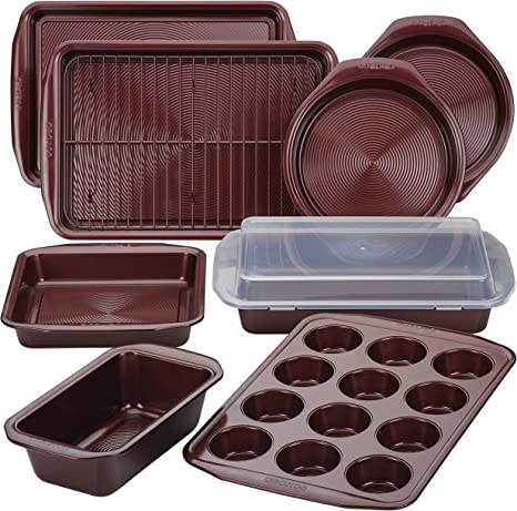 Circulon Bakeware Set with Nonstick Bread Cookie Baking Sheet and Cake Pans, 10 Piece, Merlot Red