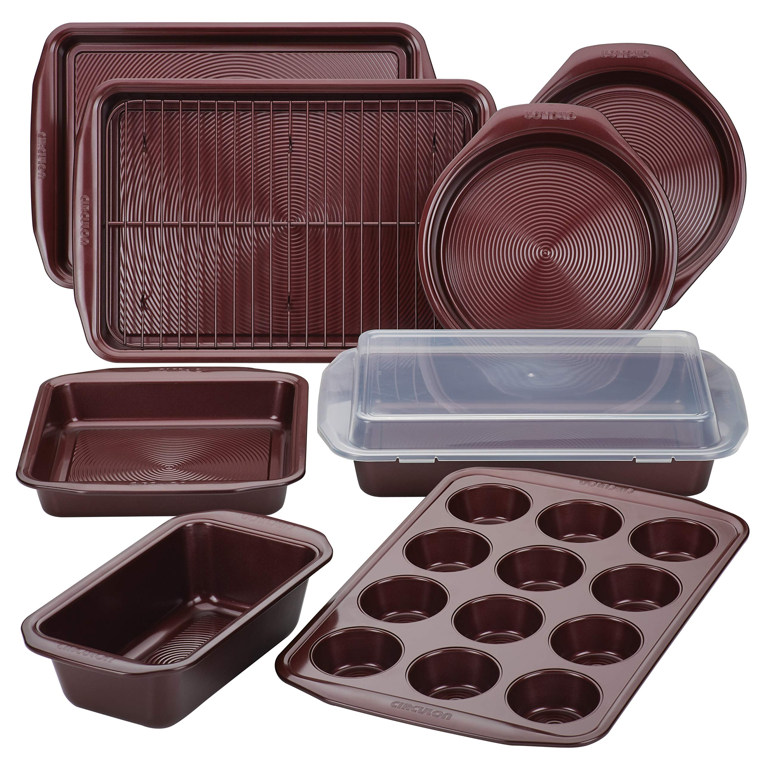 Circulon 47740 10-Piece Steel Bakeware Set, Merlot