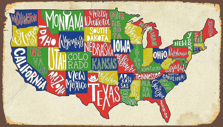 Colorful Map Of Usa.Amazon Com Dozili Colorful American Map Metal Sign Map Metal Sign