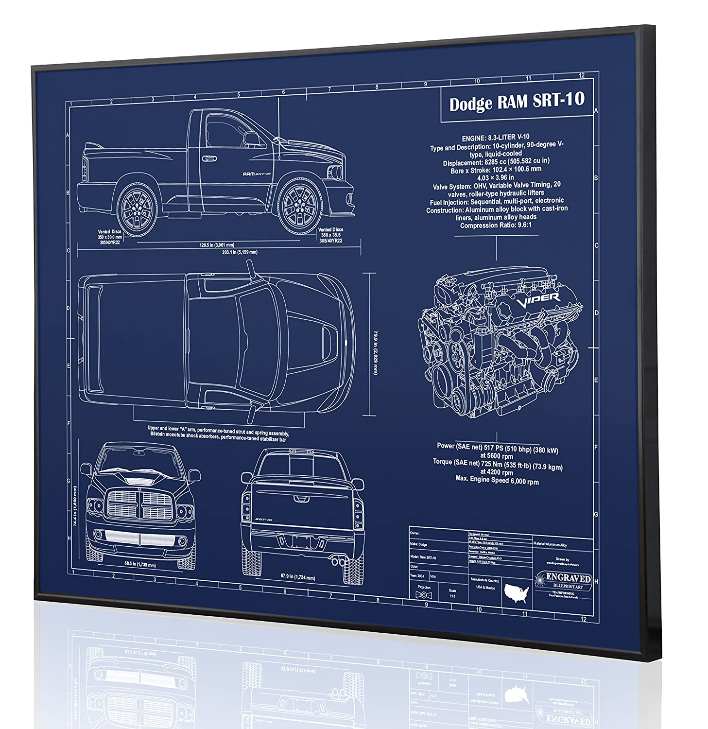 Amazon.com: Dodge RAM SRT-10 Blueprint Artwork-Laser Marked &  Personalized-The Perfect Dodge Gifts: Handmade