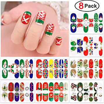 Amazon Com Christmas Nail Decals 8 Pack Konsait Christmas Nail