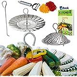 "NEW DESIGN - Vegetable Steamer Basket - 5.5-9.3"" - BEST Bundle - Fits Instant Pot Pressure Cooker - 100% Stainless Steel - BONUS Accessories - Safety Tool + eBook + Julienne Peeler -Steam Food Insert"