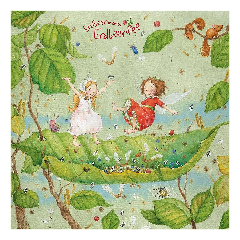 Bilderwelten Leinwandbild - Erdbeerinchen Erdbeerfee - Trampolin - Quadrat 1 1, Leinwand Leinwandbild - XXL Leinwanddruck Wandbild, Größe HxB  40cm x 40cm