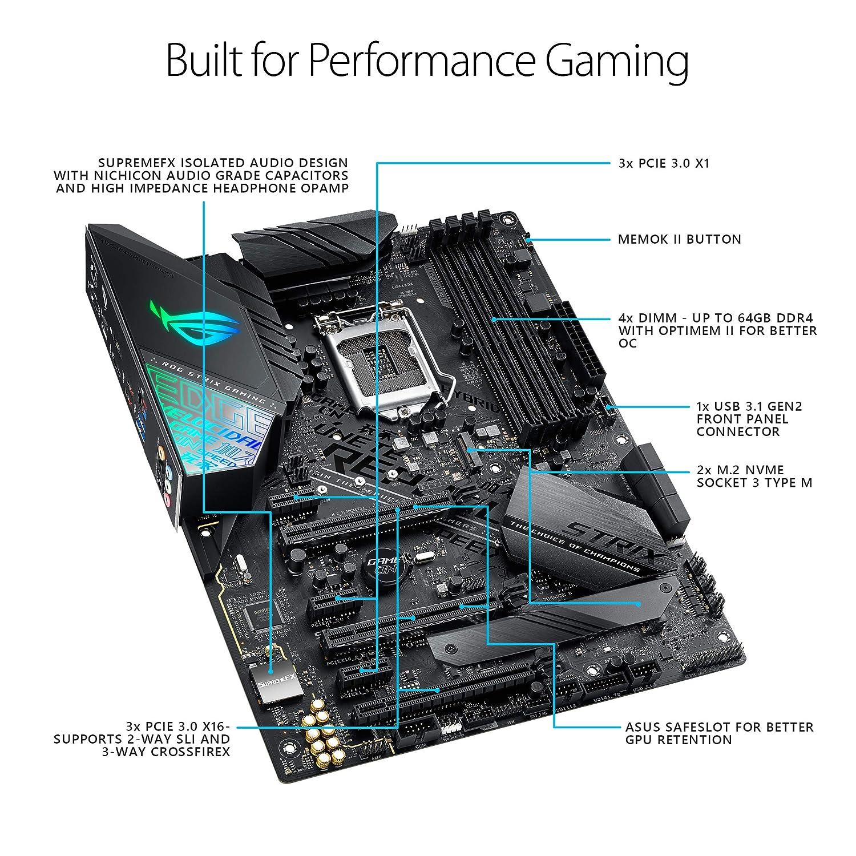 ATX DDR4 DP HDMI M.2 USB 3.1 Gen2 Gigabit LAN ASUS ROG Strix Z390-F Gaming Motherboard LGA1151 Intel 8th and 9th Gen