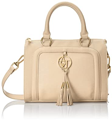 Armani Jeans Bauletto Bag In Faux Saffiano with Tassels Top Handle Bag,  Tan, One 73066dd433