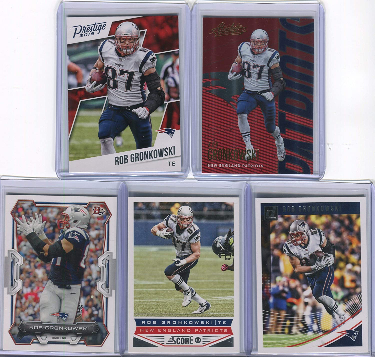 Rob Gronkowski New England Patriots Assorted Football Cards 5 Card Lot