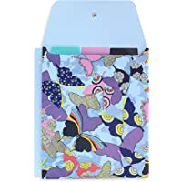 Vera Bradley 3 Ring Binder File Folio, Blue Binder Organizer Pockets with 3 Tabbed Dividers, Butterfly by