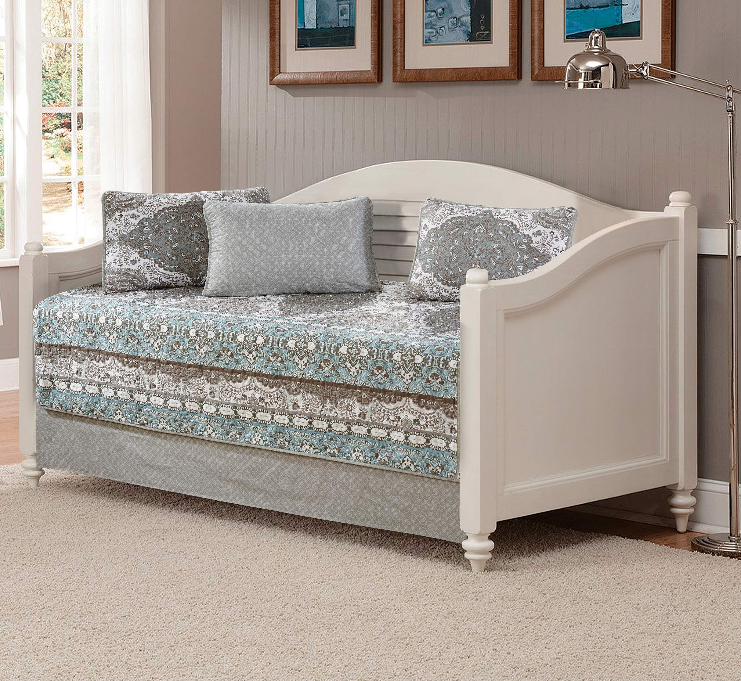 Linen Plus 5pc Daybed Cover Set Floral Aqua Blue Taupe White New