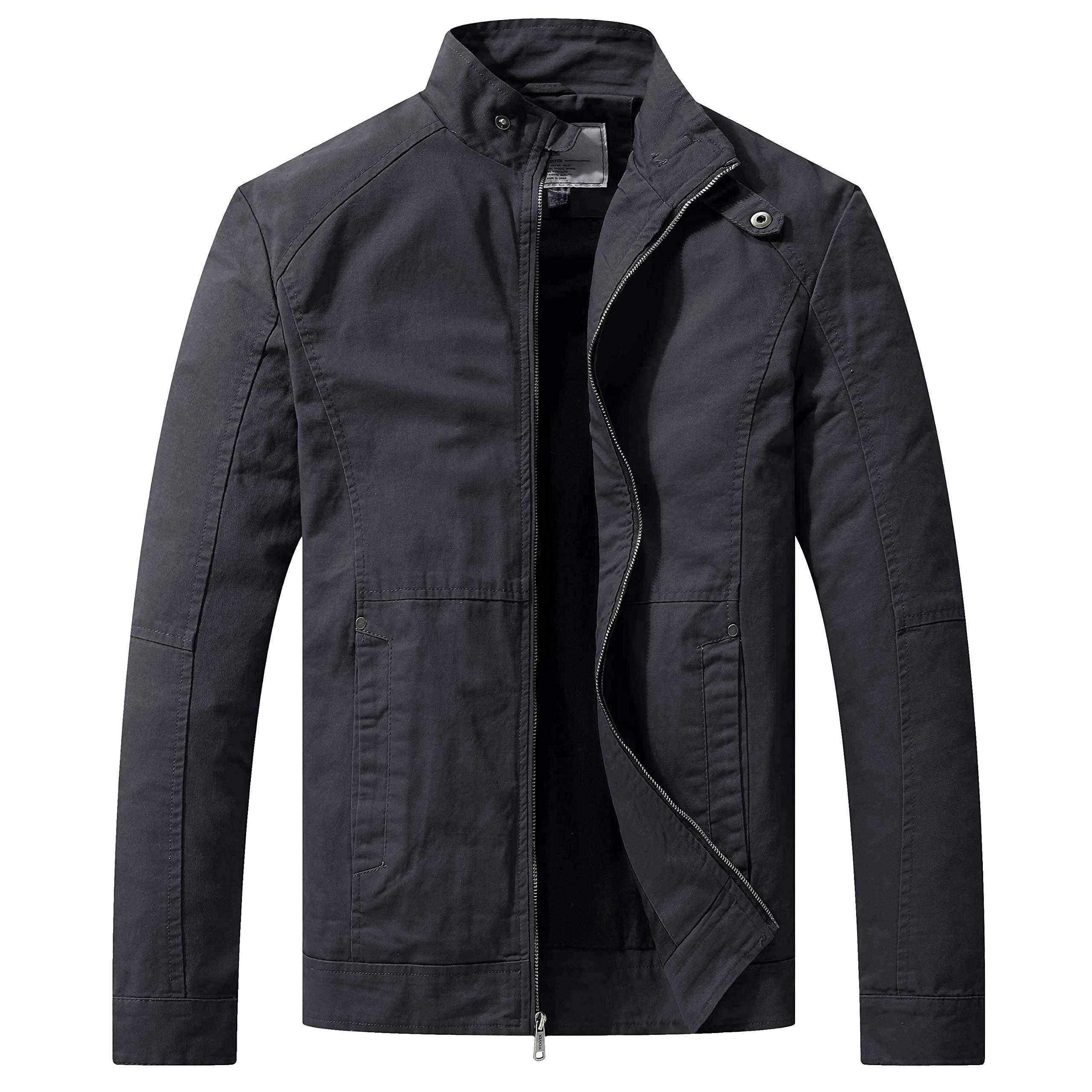 WenVen Men's Warm Casual Full Zip Military Jacket(Gray,L) by WenVen