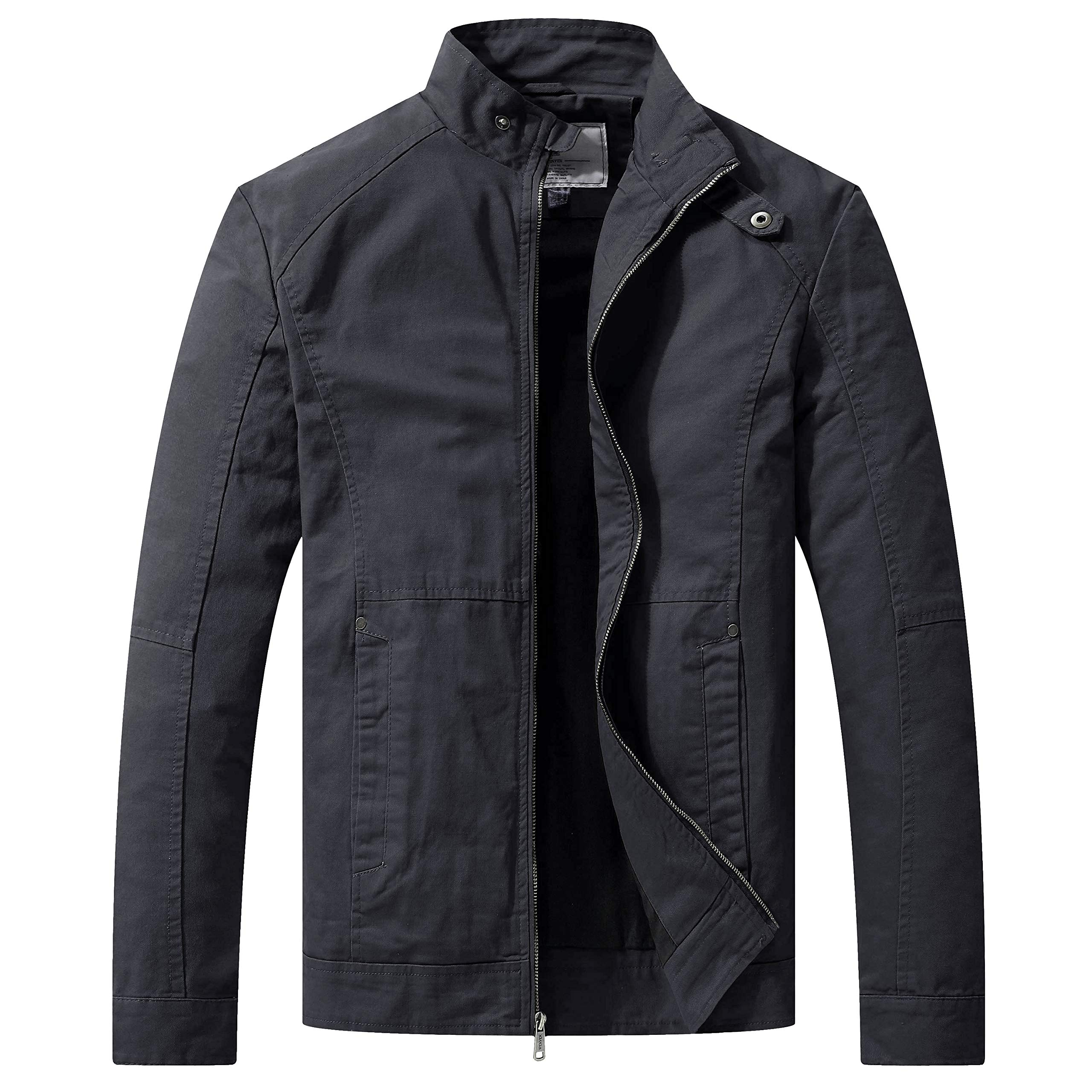 WenVen Men's Warm Casual Full Zip Military Jacket(Gray,M)